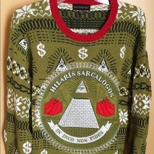 Ugly Holiday Christmas sweater Hilaris Sarcalogos